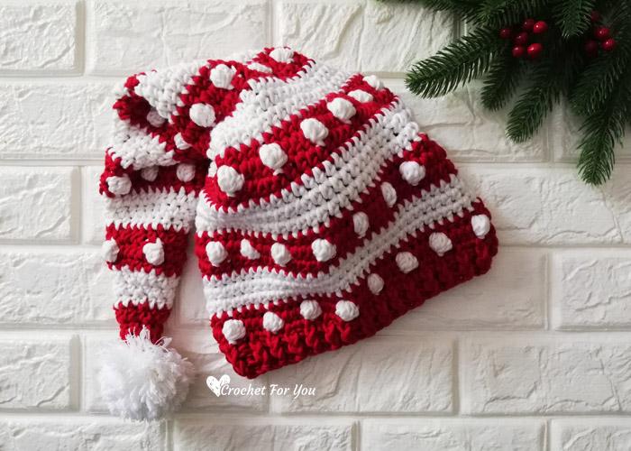 Crochet Bobbles and Stripes Santa Hat Free Pattern 1